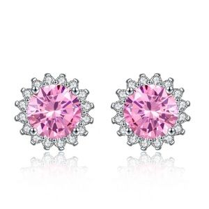CZ Crystals Pink Stud Earrings NW Pink!
